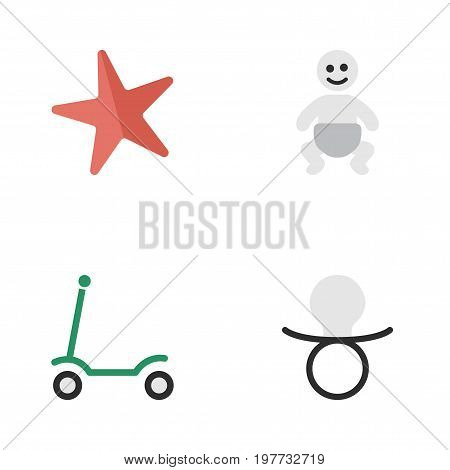 Elements Kick, Nipple, Child And Other Synonyms Starfish, Moped And Kick.  Vector Illustration Set Of Simple Infant Icons.
