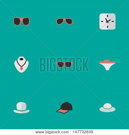 Elements Glasses, Time, Jewelry And Other Synonyms Lingerie, Panties And Time.  Vector Illustration Set Of Simple Instrument Icons.