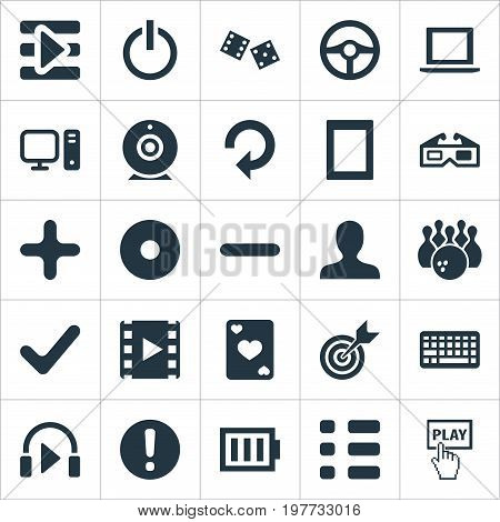 Elements Minus, Shut Down, Notebook And Other Synonyms Exclamation, Checklist And Reload.  Vector Illustration Set Of Simple Leisure Icons.