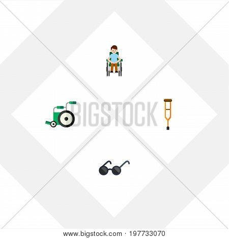 Flat Icon Disabled Set Of Equipment, Disabled Person, Spectacles And Other Vector Objects