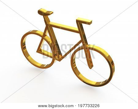 Sign - Bicycle. 3d illustration on isolated white background.