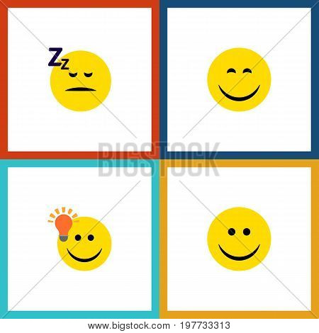 Flat Icon Expression Set Of Joy, Have An Good Opinion, Asleep And Other Vector Objects
