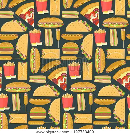 Bright colorful fast food seamless pattern on dark background. Nice fastfood texture for textile wallpaper cover wrapping paper banner bar and cafe menu design