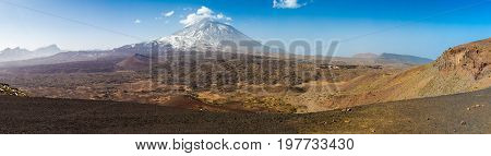Panorama of the Teide Volcano in the Teide National Park in Winter Tenerife Canary Islands