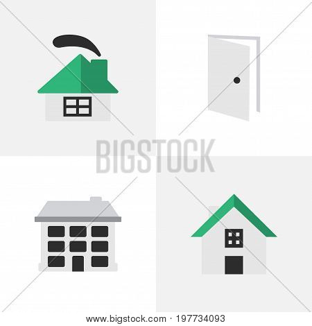 Elements Structure, Dwelling, Home And Other Synonyms House, Entry And Door.  Vector Illustration Set Of Simple Real Icons.