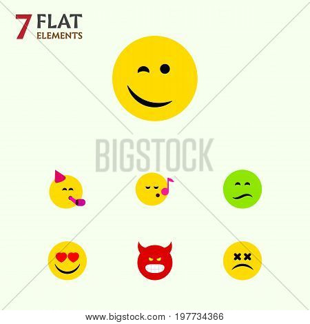 Flat Icon Emoji Set Of Pouting, Winking, Party Time Emoticon And Other Vector Objects