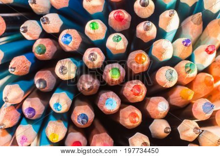 The Leads of Bright Colored Pencils Close up