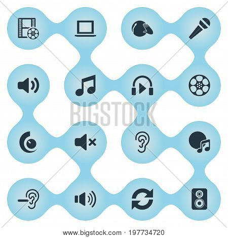 Elements Noisiness, Disco, Tape And Other Synonyms Audio, Movie And Subwoofer.  Vector Illustration Set Of Simple Sound Icons.