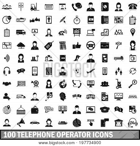 100 telephone operator icons set in simple style for any design vector illustration