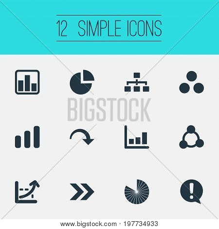 Elements Line Bar, Lecture, Decline And Other Synonyms Growth, Collapse And Increase.  Vector Illustration Set Of Simple Chart Icons.