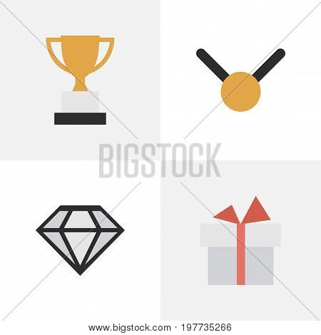 Elements Diamond, Medal, Goblet And Other Synonyms Brilliant, Precious And Goblet.  Vector Illustration Set Of Simple Prize Icons.