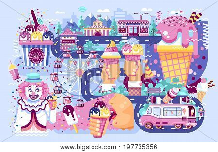 Stock vector illustration business selling different kinds ice cream sale of food with machine, meal on wheels clown amusement park sweets vanilla chocolate fruit filling cafe near road in flat style