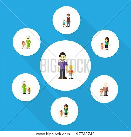 Flat Icon Relatives Set Of Grandchild, Daugther, Boys Vector Objects