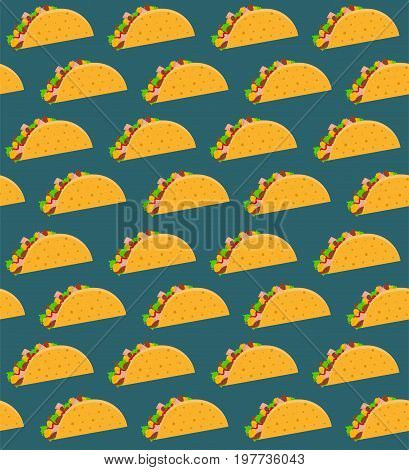 Mexican fast food seamless pattern with taco on aquamarine background. Nice spanish fastfood texture for textile wallpaper background cover banner bar and cafe menu design