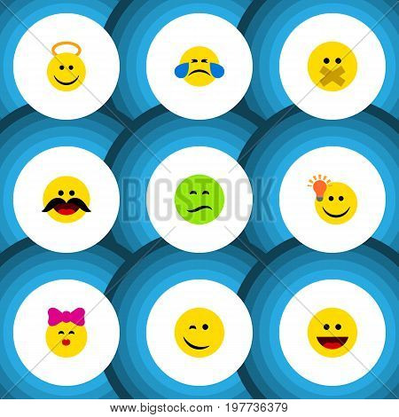 Flat Icon Emoji Set Of Angel, Laugh, Hush And Other Vector Objects
