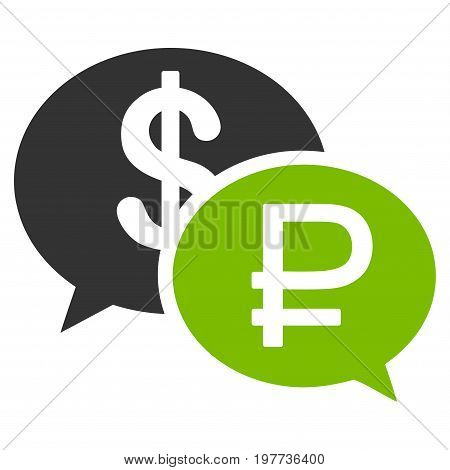 Rouble Dollar Transaction vector icon. Style is bicolor flat symbol, eco green and gray colors, white background.