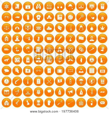 100 crime investigation icons set in orange circle isolated vector illustration