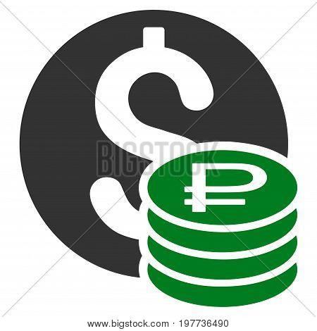 Dollar And Rouble Coins vector icon. Style is bicolor flat symbol, green and gray colors, rounded angles, white background.