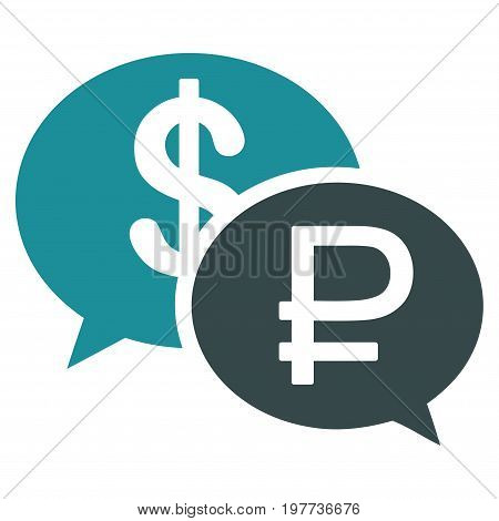 Rouble Dollar Transaction vector icon. Style is bicolor flat symbol, soft blue colors, white background.