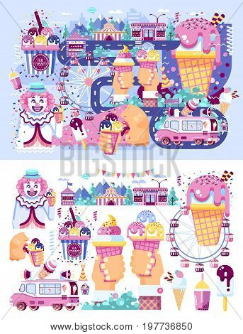 Stock set vector illustration business selling different kinds ice cream sale food with machine, meal on wheels clown amusement park sweets vanilla chocolate fruit filling cafe near road in flat style