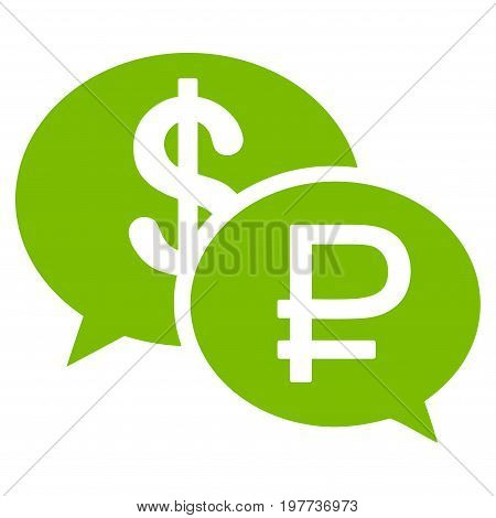 Rouble Dollar Transaction vector icon. Style is flat symbol, eco green color, white background.