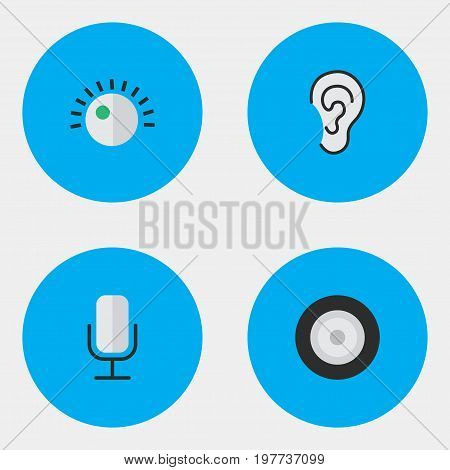 Elements Regulator, Loudspeaker, Record And Other Synonyms Microphone, Regulator And Listen.  Vector Illustration Set Of Simple Sound Icons.