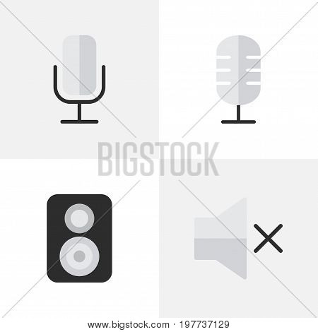 Elements Record, Volume, Speaker And Other Synonyms Loudspeaker, Volume And Music.  Vector Illustration Set Of Simple Melody Icons.