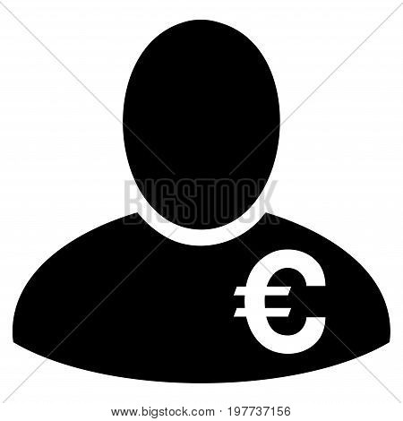 Euro Financier vector icon. Flat black symbol. Pictogram is isolated on a white background. Designed for web and software interfaces.