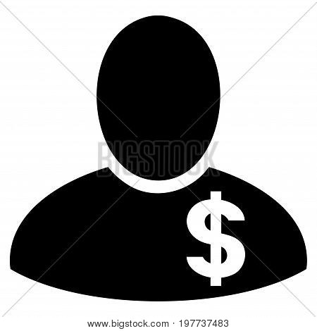 Financier vector icon. Flat black symbol. Pictogram is isolated on a white background. Designed for web and software interfaces.