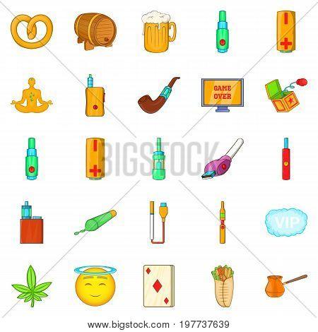 Bad habits icons set. Cartoon set of 25 bad habits vector icons for web isolated on white background