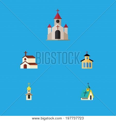 Flat Icon Building Set Of Architecture, Catholic, Traditional And Other Vector Objects