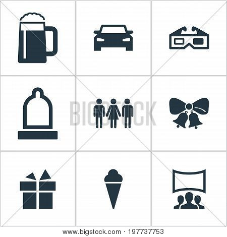 Elements Sorbet, 3D, Audience And Other Synonyms Caller, Movie And Gift.  Vector Illustration Set Of Simple Banquet Icons.