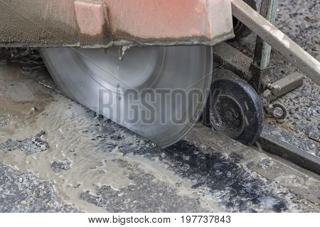 Close Of Road Cutter, Road Saw
