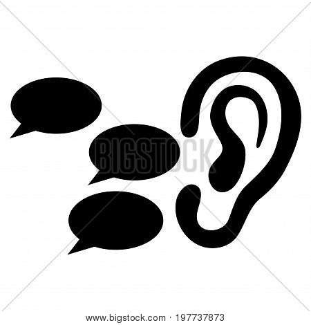 Listen Gossips vector icon. Flat black symbol. Pictogram is isolated on a white background. Designed for web and software interfaces.