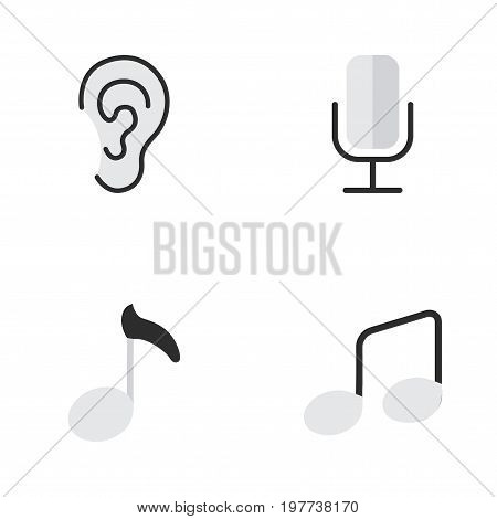 Elements Music Sign, Listen, Record And Other Synonyms Ear, Hear And Listen.  Vector Illustration Set Of Simple Melody Icons.
