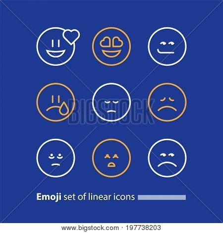 Set of linear emoji icons, black white mono line design, vector facial expressions, emoticon collection