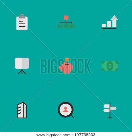 Elements Easel, Apartment, Greenback And Other Synonyms Growing, Greenback And Engine.  Vector Illustration Set Of Simple Trade Icons.