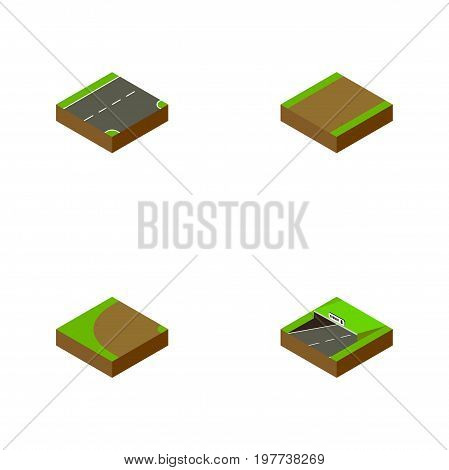 Isometric Road Set Of Footpath, Turning, Subway And Other Vector Objects