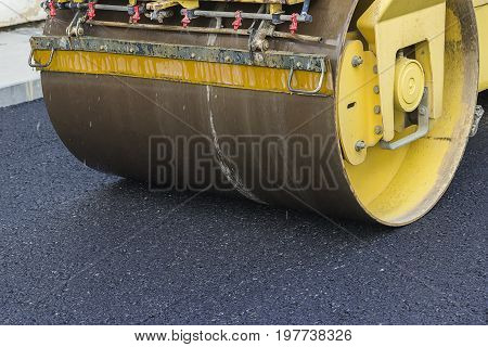 Close Of Road Roller Compacting Asphalt 2