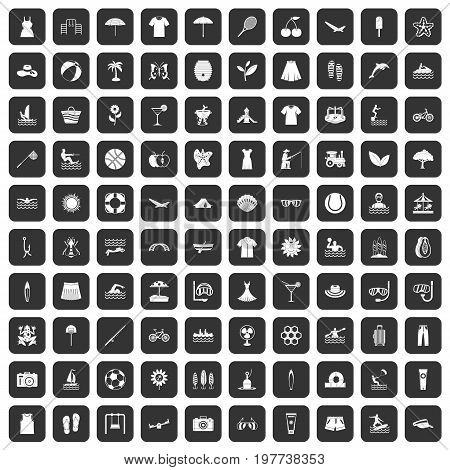 100 summer icons set in black color isolated vector illustration