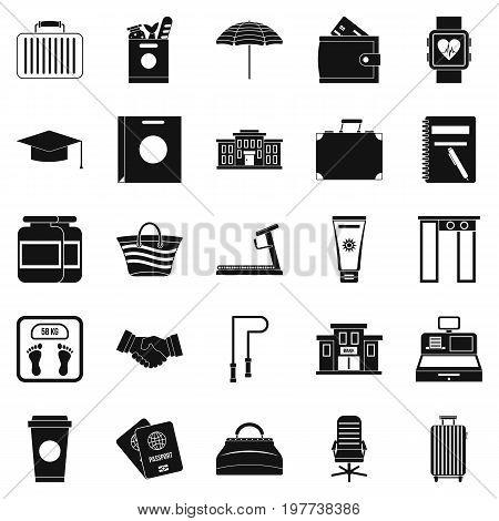 Suitcase icons set. Simple set of 25 suitcase icons for web isolated on white background