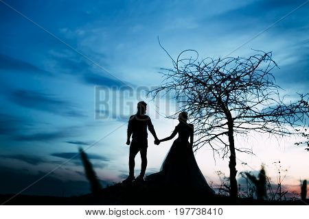 A couple of silhouettes holding hands and stands together looking each other in a date at sunset. Artwork. Front view