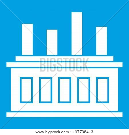 Industrial factory building icon white isolated on blue background vector illustration
