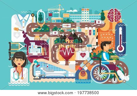 Stock vector illustration medicine health care of patient wheelchair medical insurance treatment illness recovery doctor nurse ambulance road hospital pharmacy polyclinic in flat style blue background.