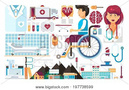 Stock vector set isolated design element medicine health care of patient medical insurance treatment illness recovery doctor nurse ambulance hospital pharmacy polyclinic flat style on white background.