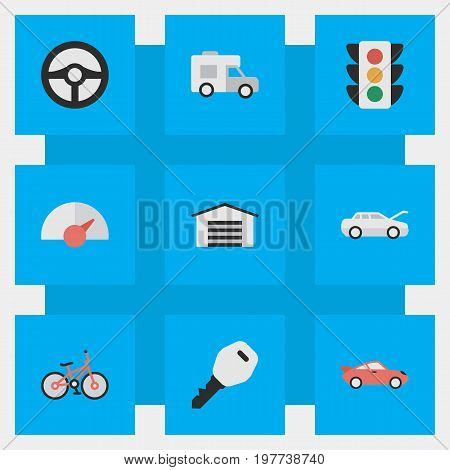 Elements Open, Recycle, Traffic Lights And Other Synonyms Speed, Lights And Van.  Vector Illustration Set Of Simple Traffic Icons.