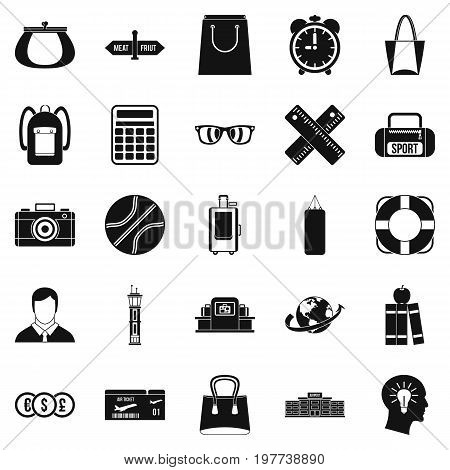 Case icons set. Simple set of 25 case icons for web isolated on white background