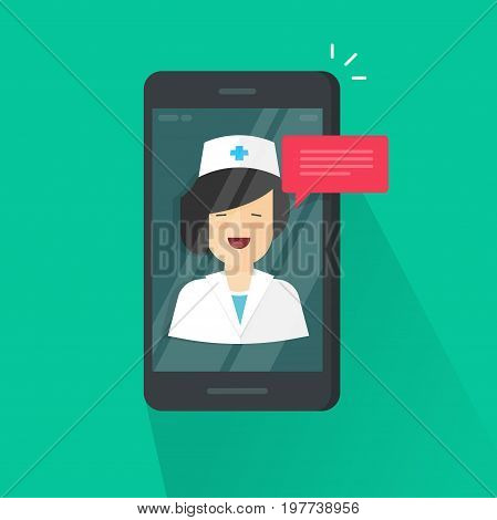 Doctor online on cellphone vector illustration, flat cartoon woman doctor answers via mobile phone on-line video technology, remote medical consultation via smartphone, telemedicine chat message