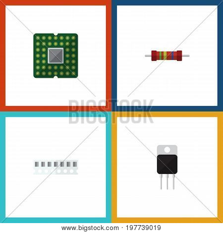 Flat Icon Device Set Of Unit, Memory, Resistance And Other Vector Objects