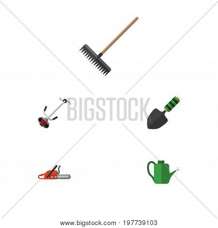 Flat Icon Farm Set Of Harrow, Trowel, Bailer And Other Vector Objects